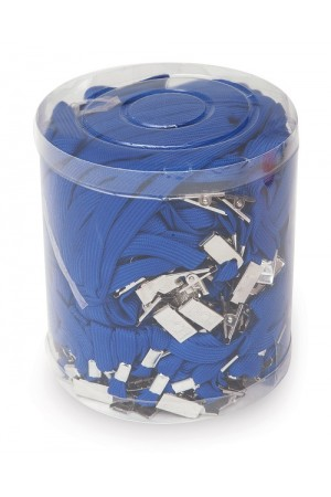 İnox Metal Klipsli Yaka Kartı İpi Mavi 50 Li
